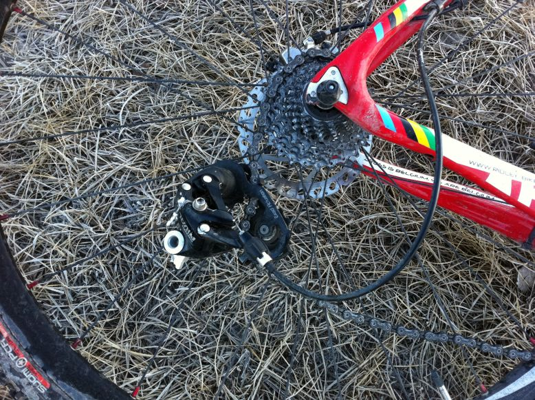 Ineffective derailleur mounting location.